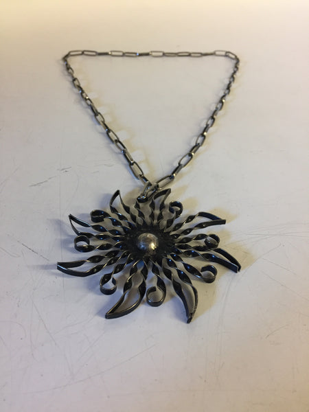 Vintage All Twisted Metal Sun Pendant Necklace Starburst Statement