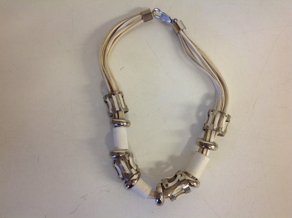 Vintage White Leather Silver Ring Strand Clasp Necklace