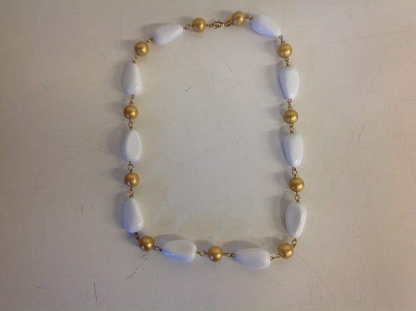 Vintage KJL White Goldtone Plastic Bead Oblong Necklace