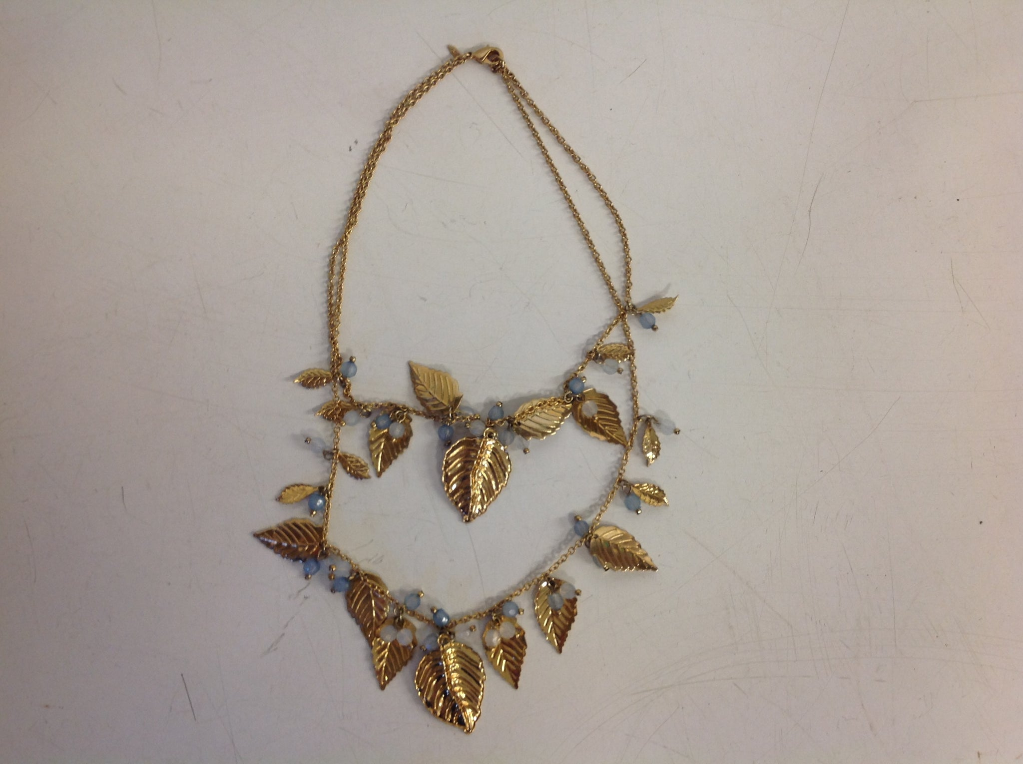 Vintage Goldtone Acanthus Leaf Double Strand Faux Crystal Chain Necklace