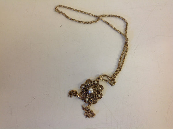 Vintage Goldtone Filigree Chain Pendant Faux Pearl Medallion With Chandelier Chain