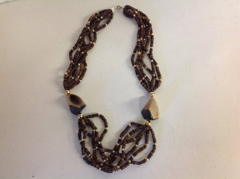Vintage Wooden Bead Goldtone Plastic Bone Chunky Strand Necklace