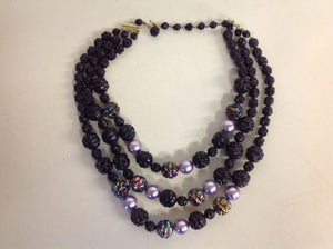 Vintage Triple Strand Iridescent Violet Black Plastic Ore Bead Necklace