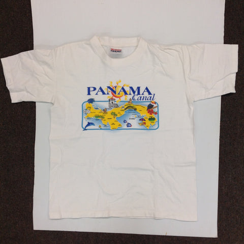 Vintage Tropic Plus Cotton Souvenir White Men's Small Short-Sleeve Panama Canal Points of Interest T-Shirt