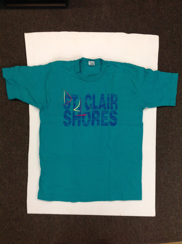 Vintage 1990's Fruit of the Loom Adult Large Souvenir T-Shirt Teal Blue Big Letter Abstract Sailboats St Clair Shores Michigan