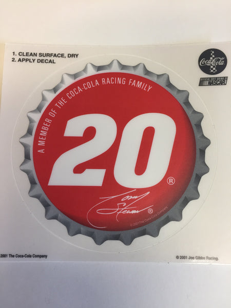 Cool 2001 NASCAR #20 Tony Stewart Coca Cola Stickers NOS Decal