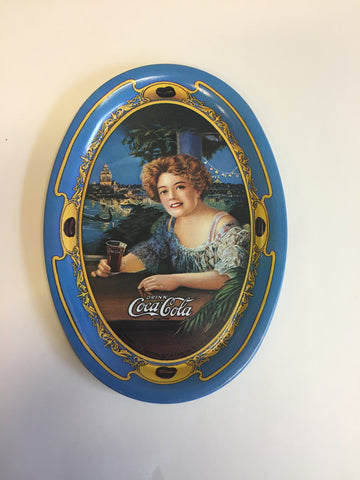 Vintage 1990's Antique Style Mini Tin Coca Cola Oval Trays Blue Repop