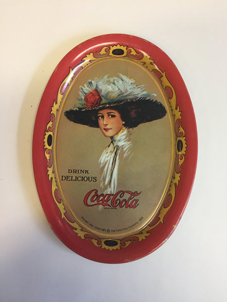Vintage 1990's Antique Style Mini Tin Coca Cola Oval Trays Red Repop