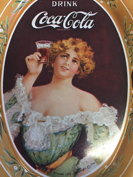 Vintage 1990's Antique Style Mini Tin Drink Coca Cola Oval Trays Gold Repop