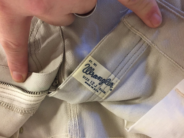 Vintage 1980's Beige Wrangler Jean Shorts Sz 12 J Slim Made in USA