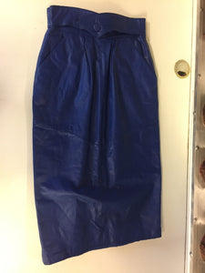 540df5d0a0 Vintage 1980's Electric Blue Leather Pencil Skirt By Leather Loft
