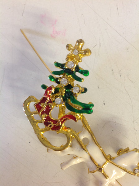 Vintage Goldtone Rhinestone Christmas Tree Horse and Sleigh Cloissone Pin
