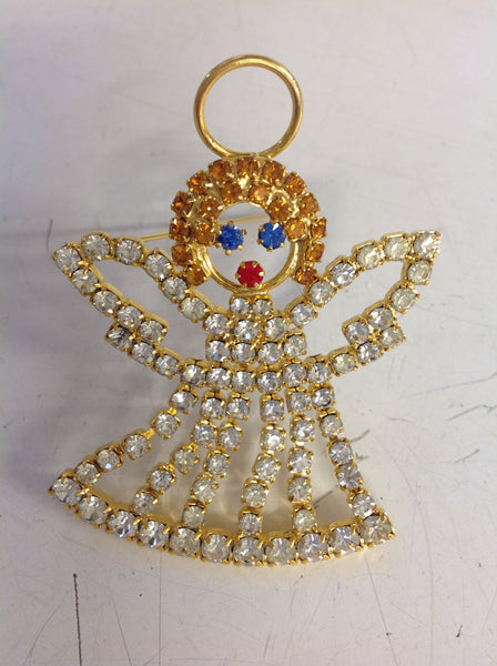 Vintage Holiday Brooch Pin Goldtone Dangling Angel with Rhinestones