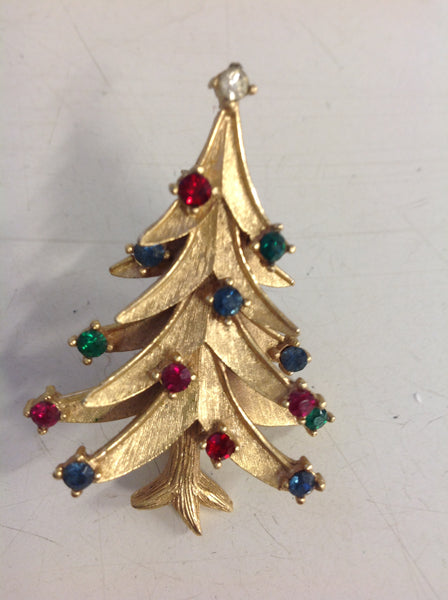 Vintage Goldtone Holiday Brooch Pin Xmas Tree with Rhinestone Lights