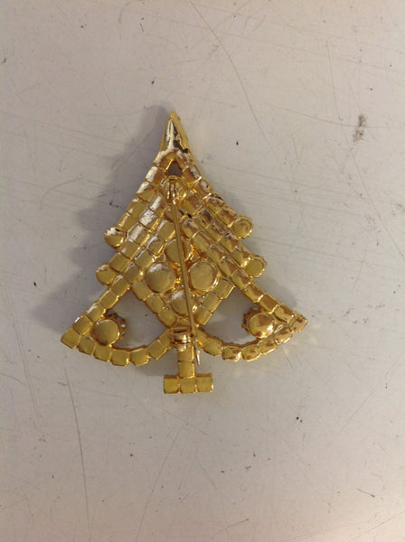 Vintage Goldtone Rhinestone Blue Tone Holiday Tree Clasp Pin