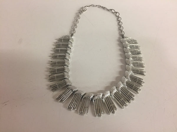 Vintage Sarah Coventry All Silvertone Necklace Bracelet & Clip Earring Set Suite