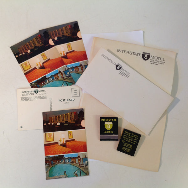 Vintage 1970's Interstate 8 Motel San Diego California Souvenir Stationery Matches Postcards Pack