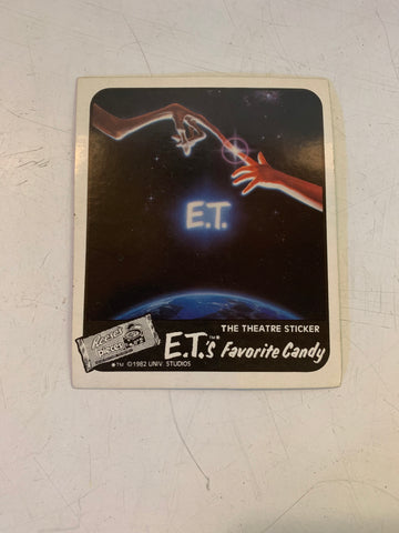 Vintage 1982 ET The Theater Sticker NOS Reese's Pieces Universal Studios Movie