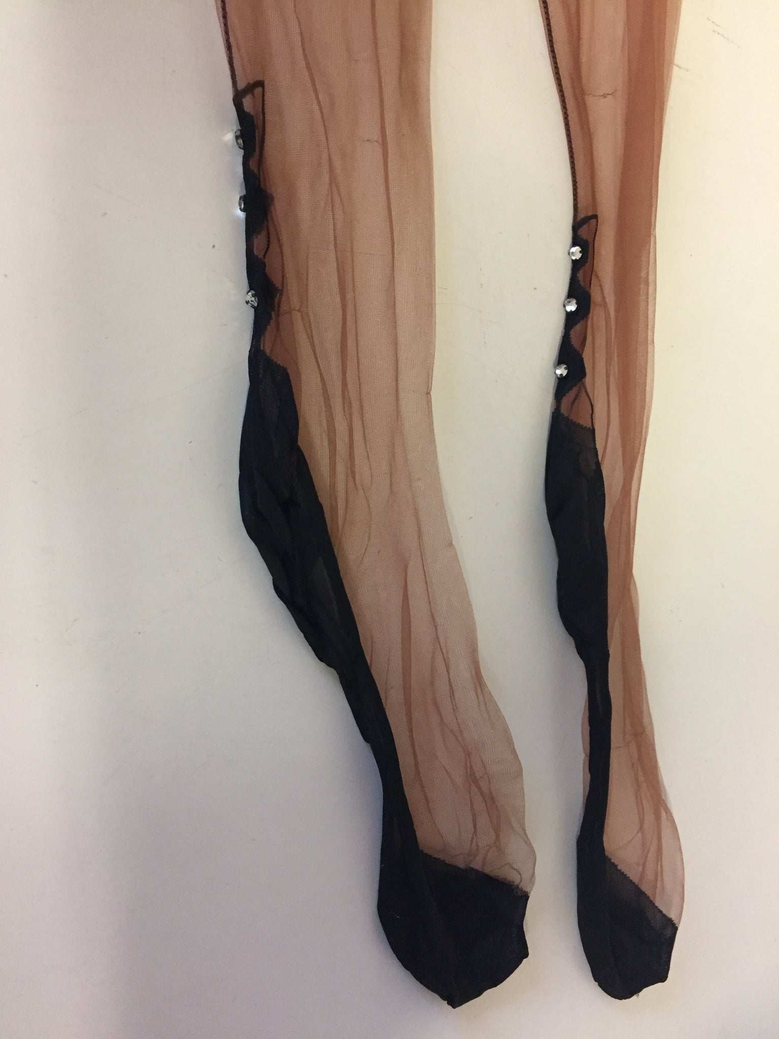 "Vintage 1950's Nude Nylons w/ Black Nylon & Rhinestone Heel Line ""No Packaging)"