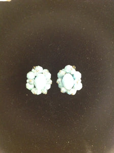 Vintage Powder Blue Seed Bead Rhinestone Faux Crystal Clip-On Earrings