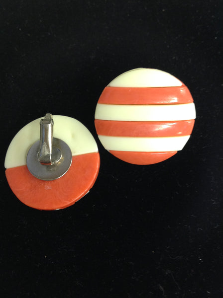 Vintage Pastel Red White Stripes Plastic Clip-On Earrings