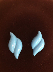 Vintage Turquoise Two-Strip Plastic Clip-On Earrings