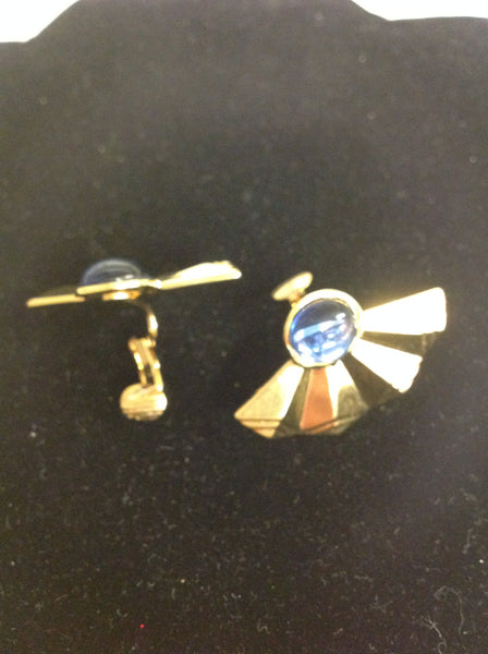 Vintage Goldtone Faux Topaz Half-Fan Clip-On Earrings