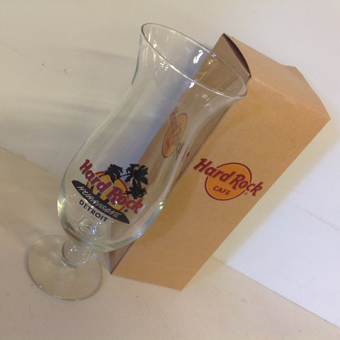 Vintage 2000's Hard Rock Cafe Detroit Hurricane Glass in Box