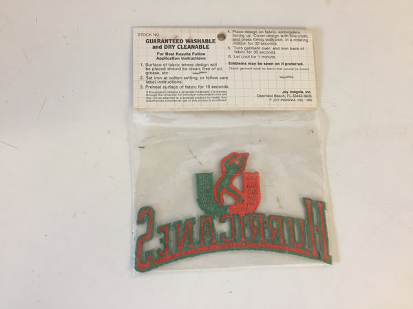 Vintage NOS 1990's University Of Miami Hurricanes Iron-On Embroidered Emblems Patch by JOY Iron-on's Florida