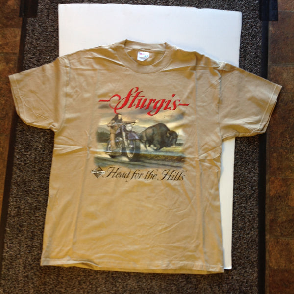 Vintage Easyriders Cycle Magazine XL (46-48) Tan Sturgis T-Shirt Head for the Hills Bison Bearded Biker
