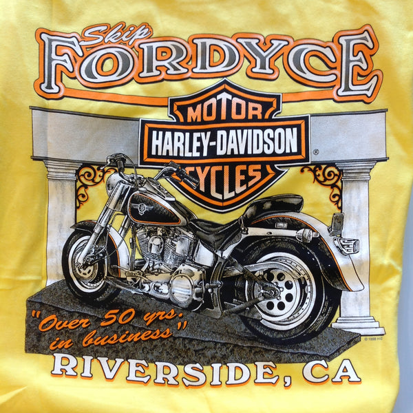 Vintage Official Skip Fordyce Riverside California Harley Davidson XL (46-48) Yellow Cotton T-Shirt