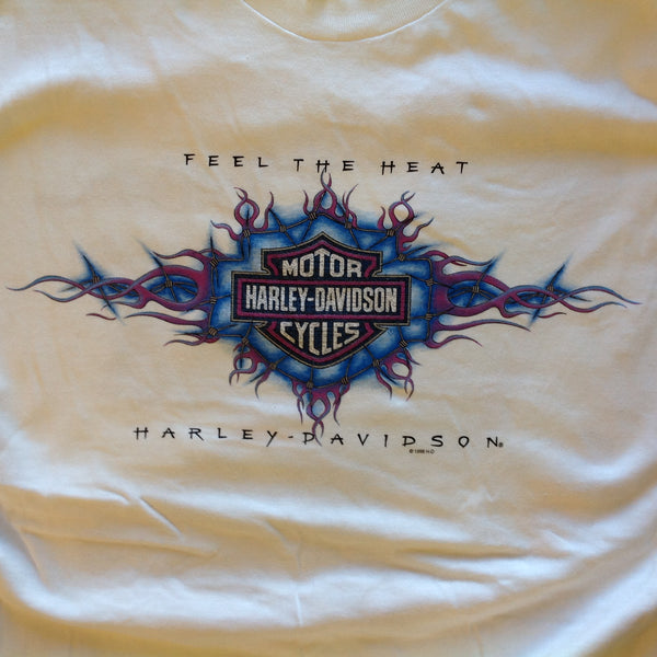 Vintage 1998 RK Stratman 100% Cotton White Men's XL Official Licensed Souvenir Harley Davidson Motorcycles Santa Maria California T-Shirt with Tags Feel the Heat