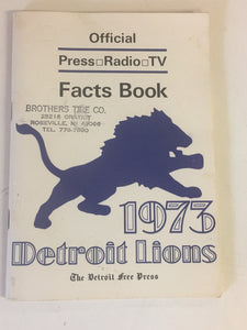 Vintage 1973 Detroit Lions Official Facts Book Free Press Brothers Tire Co