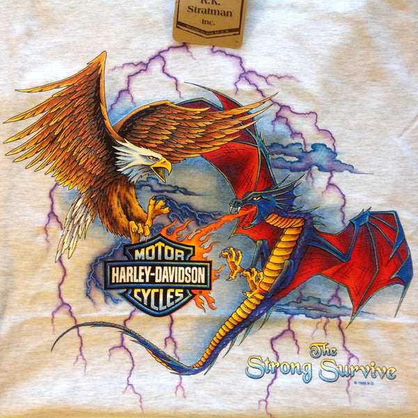 RK Stratman 100% Cotton Gray Dragon Vs Eagle Men's XL Official Licensed Souvenir Quad Harley Davidson Motorcycles Temecula California T-Shirt with Tags