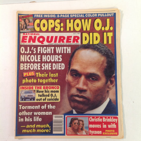 Vintage July 5 1994 NATIONAL ENQUIRER Special How OJ Did It 8-Page Pull-Out