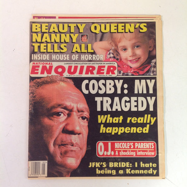 Vintage Feb 4 1997 NATIONAL ENQUIRER Cosby My Tragedy JonBenet's Nanny House of Horror