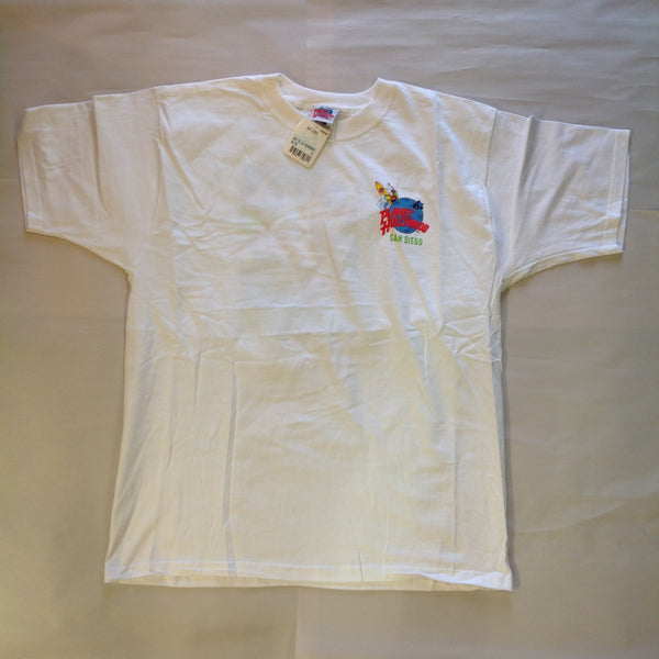 Vintage 1998 Men's XL White Cotton Short Sleeve Authentic Souvenir Planet Hollywood San Diego T-Shirt with Tags