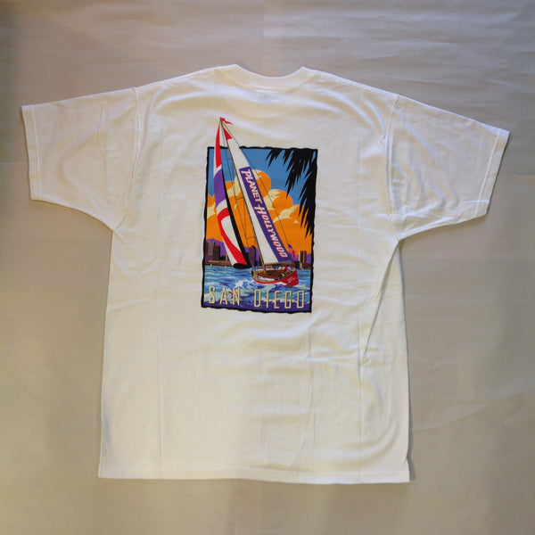 Authentic Souvenir Men's XL White Short Sleeve Planet Hollywood San Diego Color Sailing Yacht Unworn with Tags