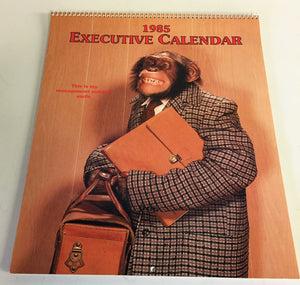Vintage 1985 Executive Calendar Monkey Posing Gibson Greeting Cards