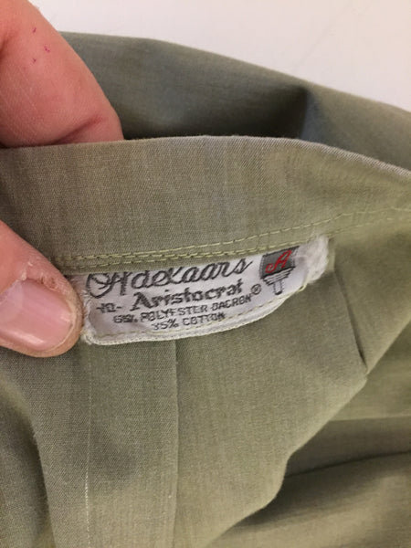 Stunning Vintage Adekaars Army Green Pleated Waist Circle Skirt