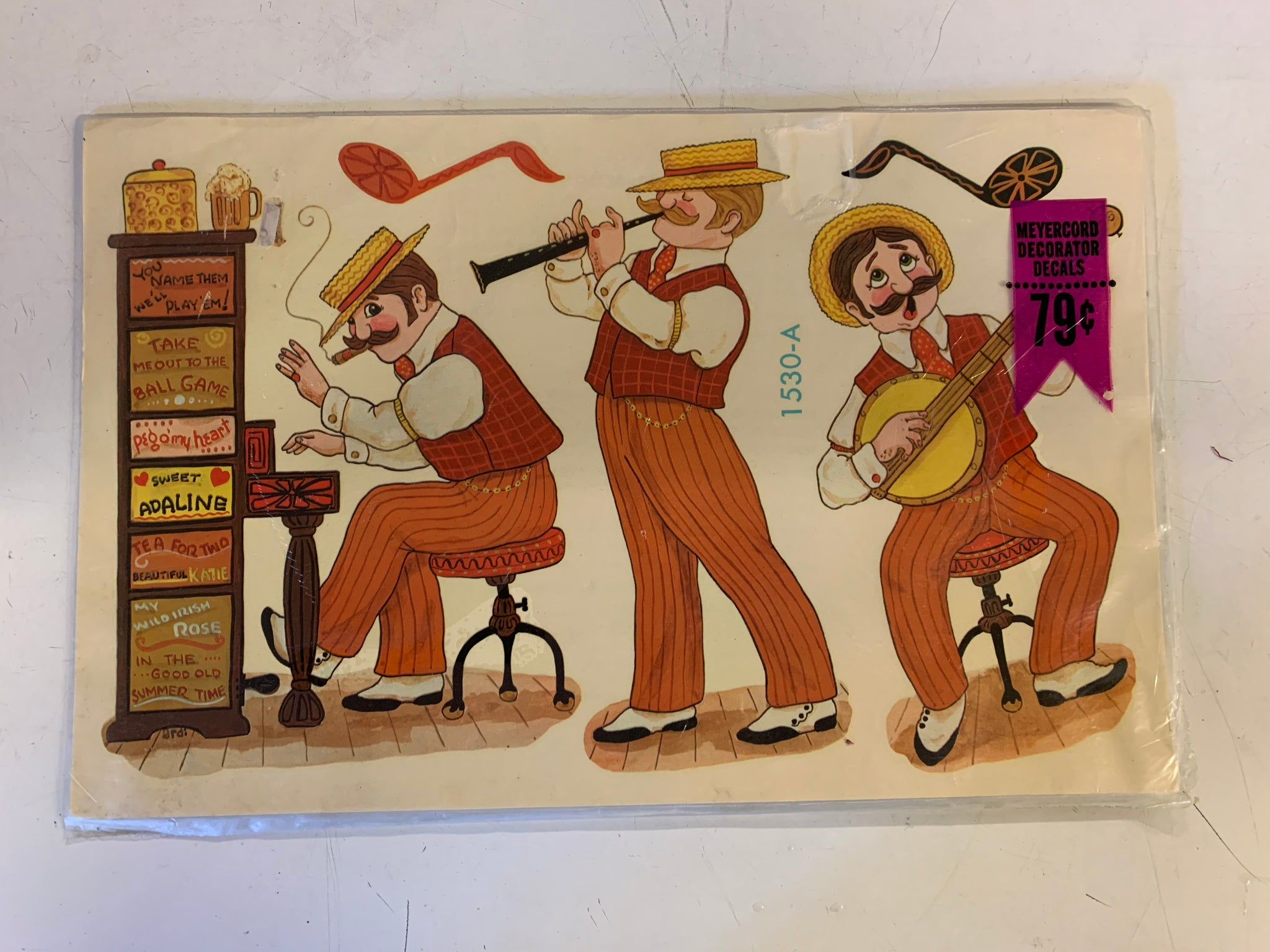Vintage Meyercord Decorator Decals NOS Band Musical Fun