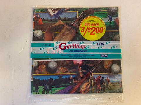 Vintage 1997 Cleo All Occasion Gift Wrap Golf Theme NOS