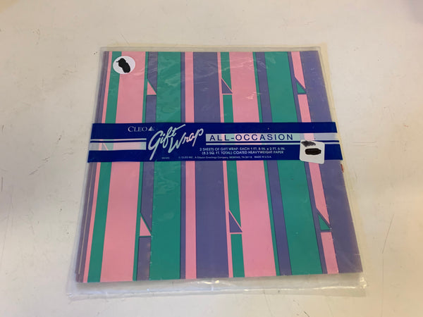 Vintage All Occasion Cleo Gift Wrap Abstract Pastel Strips Pink Green Purple