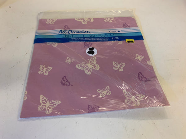 Vintage All Occasion Cleo Gift Wrap Pink, Purple & White Butterflies