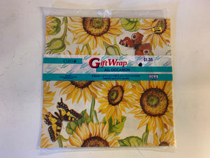 Vintage NOS Cleo All Occasion Gift Wrap Sunflower Theme Pattern