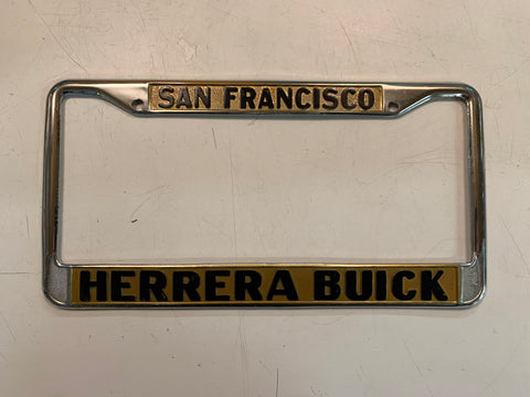 Vintage Metal License Plate Frame Holder Herrera Buick San Francisco Auto Jaydie