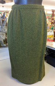 Vintage 1970's Olive Green Wool Pencil Skirt Retro Fashion