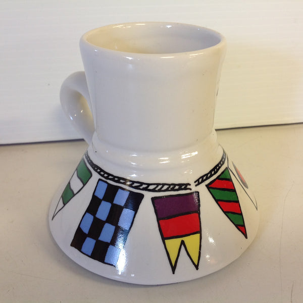 Vintage 1987 Catrinka Boating Coffee Mug with Semaphore Motif and Non-Slip Base