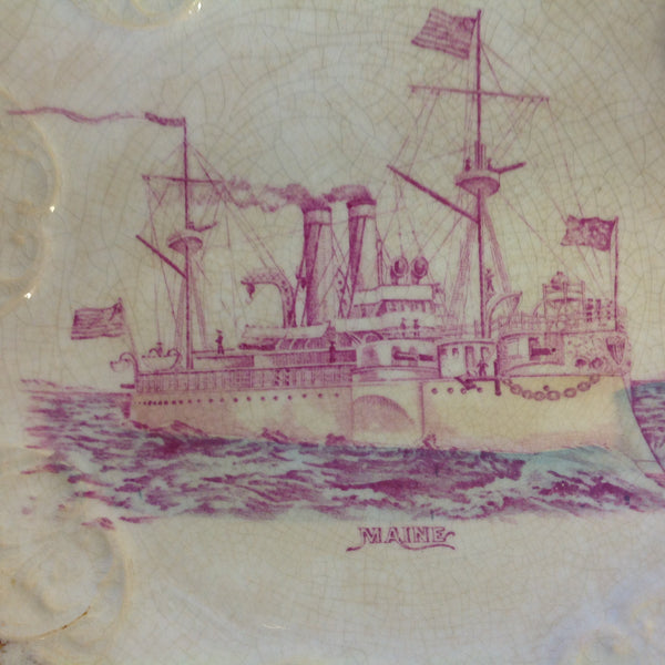 Vintage Spanish-American War Era Limoges Porcelain Collectors' Plate with USS Maine