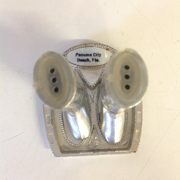 Vintage Souvenir Panama City Beach Florida Silvertone Salt and Pepper Shaker Set with Stand